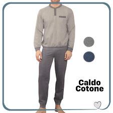 Pigiama INVERNALE Lungo da Uomo in Caldo Cotone Inverno Serafino Manica Lunga