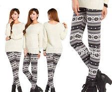 Women Warm Winter Knit Snowflake Reindeer Leggings Xmas Fleece Stretch Pants US