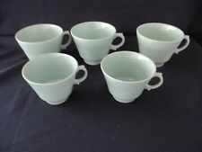 Vintage 40`s 50`s Cups - Woods Ware Beryl - Mint Green - 3 Coffee & 2 Tea Cups