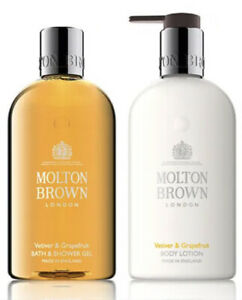 Molton Brown Vetiver & Grapefruit Bath & Shower Gel & Body Lotion Set 300ml NEW