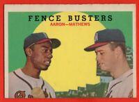 1959 Topps #212 Hank Aaron EX/EX+ Eddie Mathews Milwaukee Braves HOF FREE SHIP