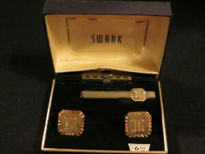 VINTAGE SET OF SWANK INITIAL M MONOGRAM M CUFF LINKS AND TIE BAR CLIP NEW IN BOX
