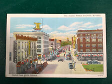 Cheyenne WY Wyoming Postcard, Capitol Ave with Old Cars