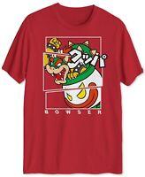 Super Mario Mens T-Shirt Red Size XL Bowser Split Box Kanji Graphic Tee Crew 155