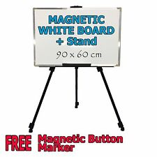 Magnetic WHITEBOARD Stand 900mm x 600mm Quality Home & Office Metal Back plate