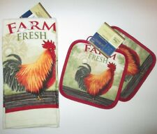 2pc Rooster Kitchen Dish Towel & Pot Holders by Home Collection NEW