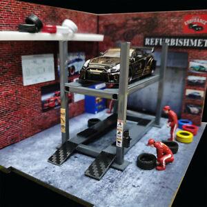 DIY 1:64 Diecast Car Model Parking Lifter Machine Rack Model Tool 1/64 Display