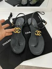 Chanel Black Lambskin Gold Cc Logo Mule Ankle Strap Thong Sandal Flat Sz 40