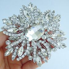"Wedding 3.94"" Clear Austrian Crystal Pendant Teardrop Flower Brooch Pin 04053C2"