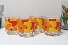 Vintage Libbey Retro Mod Flowers Glasses Yellow Orange