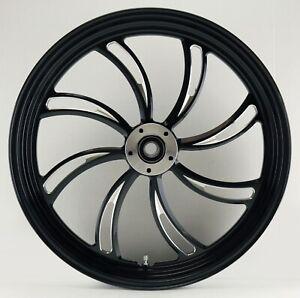 """Vortex """"Black Cut"""" CNC 21"""" x 2.15"""" Single Disc Front Wheel for Harley Custom"""