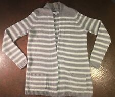 Ann Taylor Loft Taupe/Off White Striped Long Sleeve Cardigan Size XS