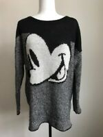 DIVIDED By H&M Disney Mickey Mouse Sweater Oversized Medium Wool Mohair Gray