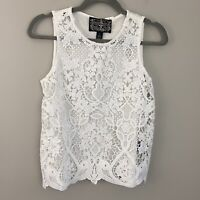 Anthropologie James Coviello Lace Shell Tank Top Size XS Floral White Shirt