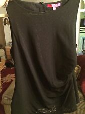 Catherine Catherine Malandrino fitted shirred tank blouse Black M/L