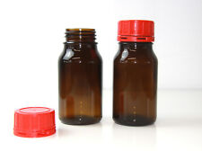 Weithalsgläser  - 4x Weithalsflaschen 500ml braun mit Sicherheitsdeckel rot