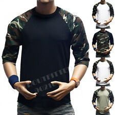 Men 3/4 Sleeve Camouflage Baseball T-Shirt  Raglan Fashion T Casual Sports S-3X