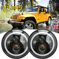 "2X 7"" Inch Round 40W LED Halo Angel Eye Headlight For Jeep Wrangler TJ LJ CJ JK"