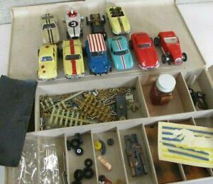 LOT Vintage AURORA THUNDERJET 500 9 SLOT CARS + PARTS BOX