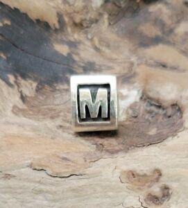 Pandora Letter M Block Alphabet Initial Charm Silver 925 ALE Authentic