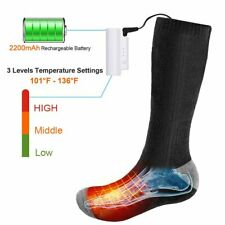 Electric Heated Socks Rechargeable Battery 3.7V 2200mAh Foot Warm For Skiing US