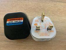 UK PLUG 3Pin Fused WHITE BLACK MAINS PLASTIC PLUG 13A SOCKET PACK 1 3 5 10 20