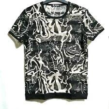 Abstract print mesh trim shirt
