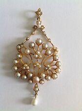 Finest Quality Art Nouveau 15ct Gold Natural Seed Pearl Set Pendant