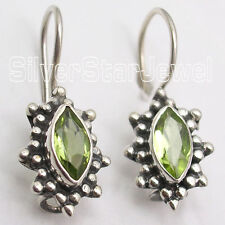 925 Sterling Silver MARQUISE GREEN PERIDOT ANTIQUE STYLE Earrings 2.3 CM Jewelry
