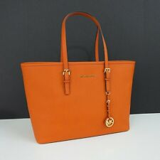 New Michael Kors Jet Set Travel Medium Multifunction Tote Handbag Orange Leather