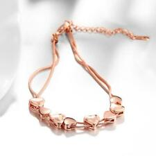 Rose Gold Plated Charm Chain Wedding Tennis Fashion Heart Bracelet Bangle