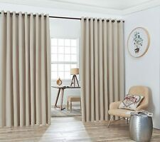 Nicole - 2 Wall-to-Wall Blackout Grommet Curtains Panels with Tiebacks - Total S