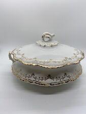 Beautiful antique Homer Laughlin Hudson covered Serving Dish gold Design