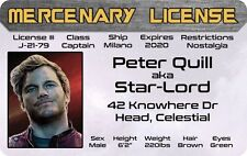 Peter Quill Star-Lord Guardians of the Galaxy Marvel Comics Id Drivers License