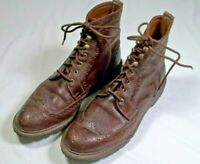 ALLEN Edmonds Dark Brown LONG BRANCH Wingtip Boots Sz 11.5 Lace-Up Vibram Sole