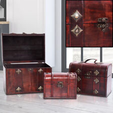Set of 3 Wood Jewellery Box Storage Chest Metal Fitting Accessories