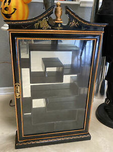 Lg Wall Mount Curio Cabinet Black Lacquer Display Asian Style Shadow Box Wow!!!