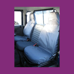 Land Rover Defender 1983-2007 Front Pair Tailored Seat Covers Grey Waterproof