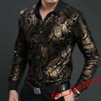 Mens Fashion Shirts Chinese Dragon Prints Long Sleeveal Dress Silk Velvet Tops