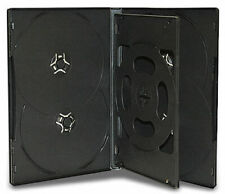 10x Sextuple Hold 6 Black DVD CD Cover Cases 14mm - Holds 6 Discs