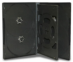 100x Sextuple Hold 6 Black DVD CD Cover Cases 14mm - Holds 6 Discs