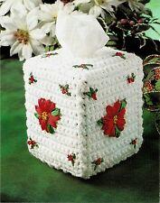 LOVELY Christmas Poinsettia Tissue Cover/Decor/Crochet Pattern Instructions