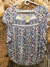 Americain Eagle Navy Blue Floral Blouse  short sleeves Tunic Floral Size L Large