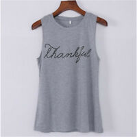 Women T-shirt Fashion Thankful Letter Print Solid Color Sleeveless Top G