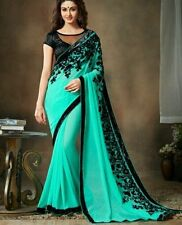 Bollywood New Designer Indian Georgette Partywear Saree Embroidered Saree Bouse