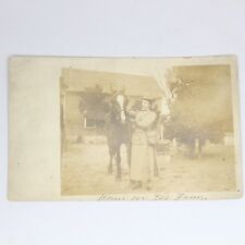 1909 Sepia Tone Horse Rugged Woman RPPC Real Photo Post Card California PA