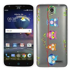 for ZTE maven 2 Clear (Owls on a branch) TPU gel skin phone case cover