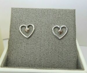 Clogau Gold, Silver & Rose Gold Tree of Life Heart Stud Earrings RRP £79