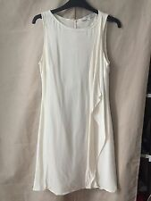 Lisa Ho White Ivory Silk Sleeveless Column Shift Dress Fully Lined Womens Size 6