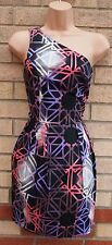 TOPSHOP ONE SHOULDER BLACK PURPLE PINK ABSTRACT A LINE PUFF PARTY DRESS M 12
